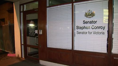 Senator Conroy's office was searched. (9NEWS)