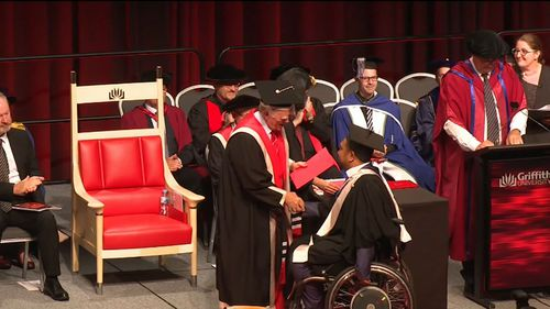 After a seven-month stay in hospital and three years recovering, he returned to medical school. (9NEWS)
