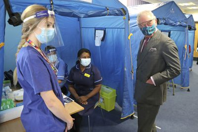 Prince Charles and Camilla visit COVID-19 vaccine clinic, December 2020