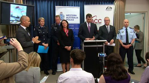 Representatives from WA Police, the Australian Crime Commission and the Australian Federal Police. (9NEWS)