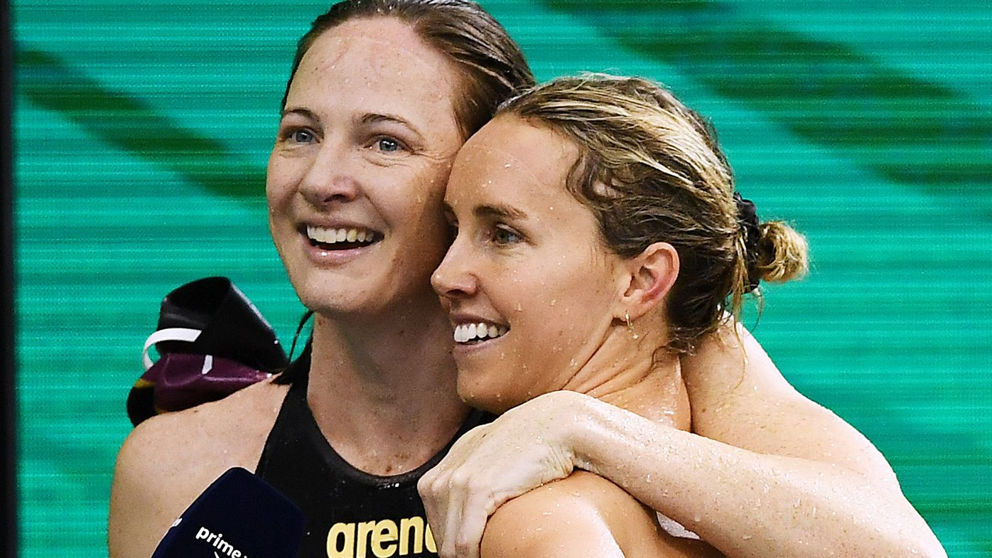 Cate Campbell and Emma McKeon after the Women's 100 metre Freestyle during the Australian National Olympic Swimming Trials