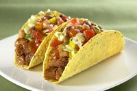 Beef taco with four bean salad