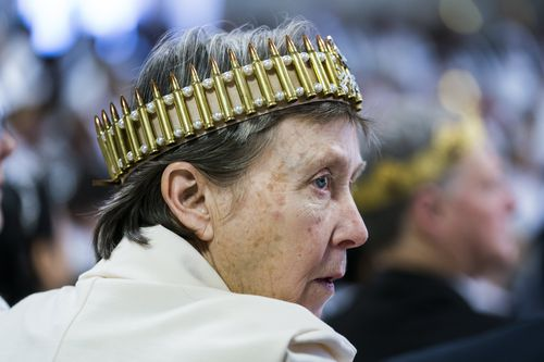 This man was spotted wearing a crown made out of bullet casings. (AAP)