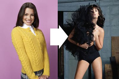 She might play a schoolgirl on <i>Glee</i> - but the daggy cardigans end there! 24-year-old Lea Michele posed for a series of raunchy shots for <i>Marie Claire</i> in the UK - with a well-placed hand protecting her modesty.