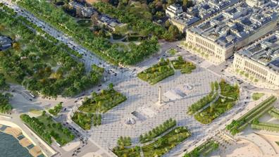 Design renderings of Place de la Concorde's green makeover