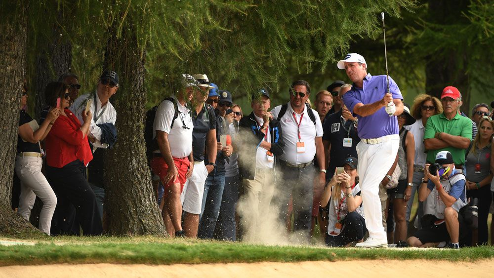 Australia's Scott Hend has shot a five-under-par third round of 65 to lead the European Masters by a single stroke.(Getty)