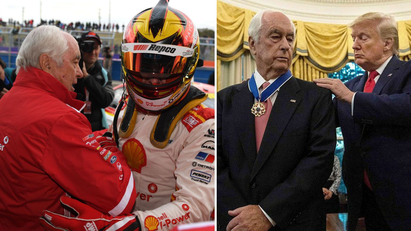 DJR Team Penske owner Roger Penske congratulates Scott McLaughlin