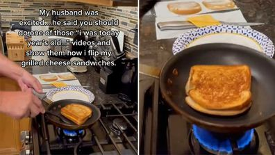 Grilled cheese sandwich frying pan hack