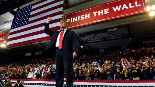 President Donald Trump addresses supporters during his speech in El Paso, Texas.