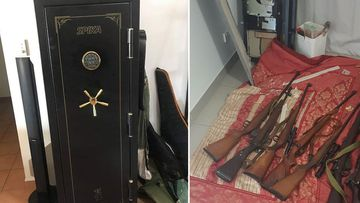 A 150 kg gun safe and nine rifles that were stolen in Darwin and uncovered by police.