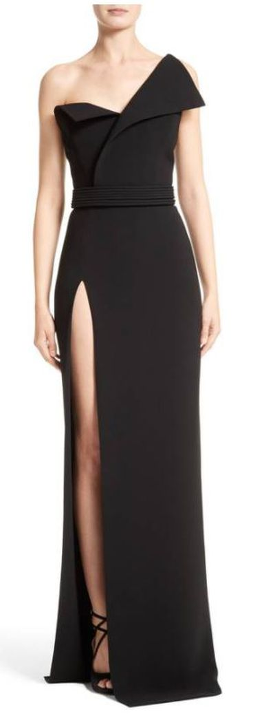 "<a href=""https://shop.nordstrom.com/s/brandon-maxwell-belted-foldover-neck-gown-with-high-slit/4557715?origin=keywordsearch-personalizedsort&amp;fashioncolor=BLACK"" target=""_blank"" draggable=""false"">Brandon Maxwell Belted Foldover Neck Gown with High Slit, $5262.14.</a>"