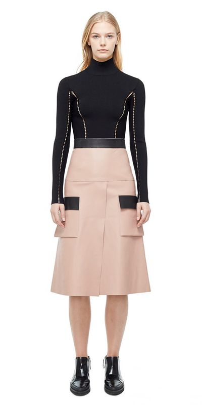 "Blush cargo skirt, <a href=""https://www.dionlee.com/shop/dion-lee/skirts/leather-cargo-skirt-a1166-f17/275353"" target=""_blank"">Dion Lee</a>, $1,490<br />"