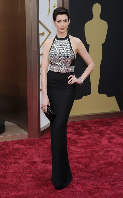 Anne Hathaway in Gucci at the 2014 Oscars.