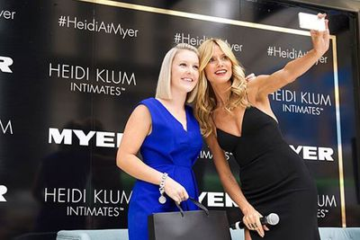 """@myer: """"It was all smiles and selfies on stage today with @heidiklum and the winner of our @heidiklumintimates competition! Congrats again @tausten_! #heidiatmyer #myermelbourne #heidiklumintimates"""""""