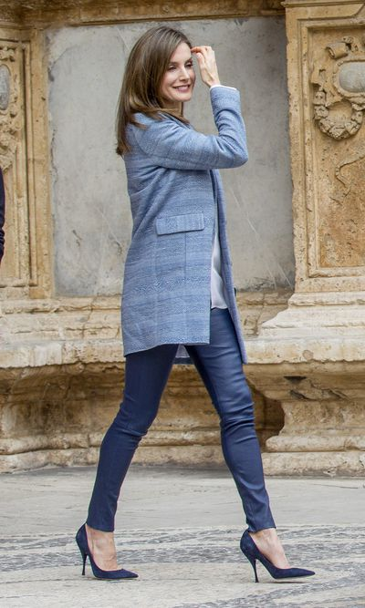 Queen Letizia at the easter mass in Palma de Mallorca, Spain, in April, 2017