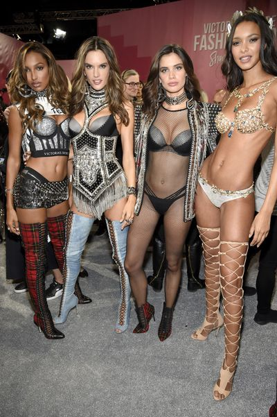 Jasmine Tookes, Alessandra Ambrosio, Sara Sampaio and Lais Ribeiro at the Victoria's Secret 2017 runway show in Shanghai.