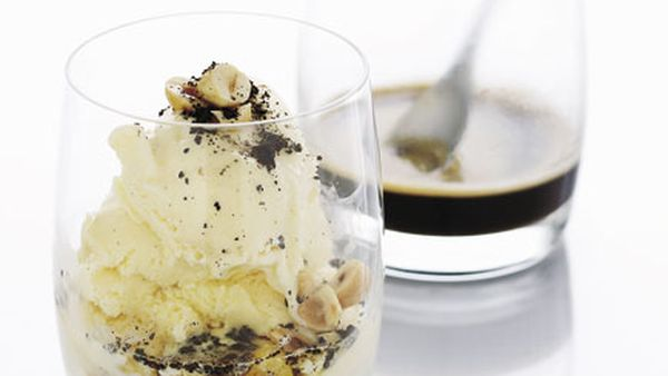 Cognac and hazelnut affogato