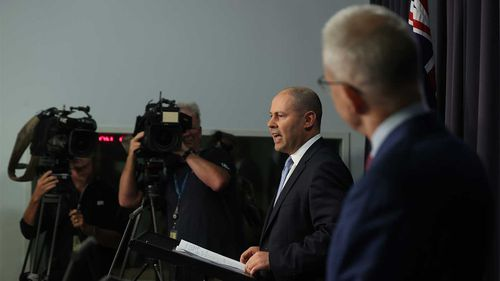 Josh Frydenberg and Paul Fletcher during a press conference on Facebook's news ban.
