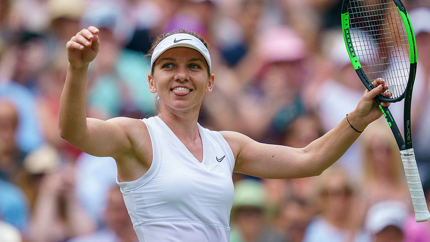 Simona Halep (ROU) celebrates match point