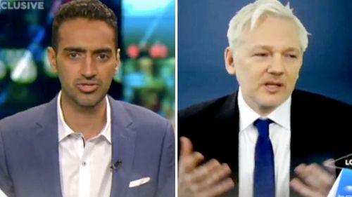 Waleed Aly (left) interviews WikiLeaks editor Julian Assange. (Supplied)