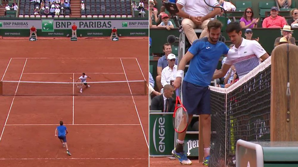 Novak Djokovic manages a smile at stunning winner from Marcel Granollers during French Open