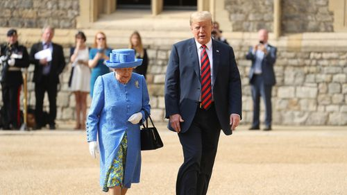 """Donald Trump has met Queen Elizabeth II at Windsor Castle for a """"social visit"""", during which the pair are expected to share a cup of tea. Picture: PA"""