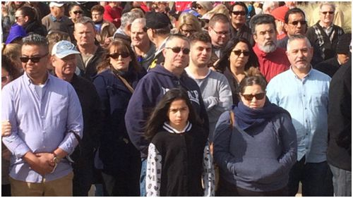 Hundreds converged in Caroline Springs to rally for a safer local community. (9NEWS)