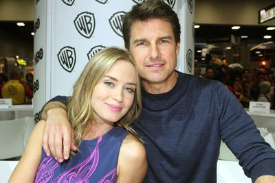 <b>Tom Cruise</b> and <b>Emily Blunt</b> got cosy at the Warner Bros booth, promoting <i>Edge of Tomorrow</i><br/><br/>Image: Wil Corpus/WBTV/Getty Images