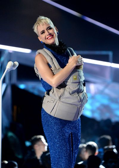 <p><strong>Look 8</strong></p> <p>Katy Perry in Rasario at the MTV VMAs in LA accesorised with a baby carrier, which might have on-again off-again beau Orlando Bloom breaking out into a sweat. A yummy mummy.</p>