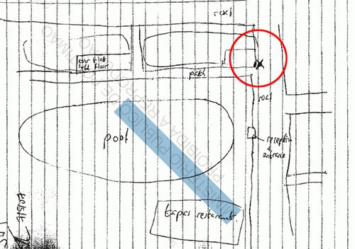 The map Jeremy Wilkins drew for police in 2007. Inside the red circle is the 'X' where he said he stood with Gerry McCann.