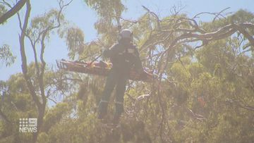 Trapped and unable to move, rescue crews were forced to call for the chopper to airlift the man out.