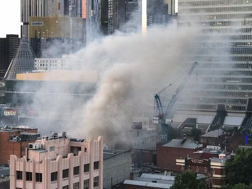 Parts of the city were engulfed in smoke from the blaze. (MFB)