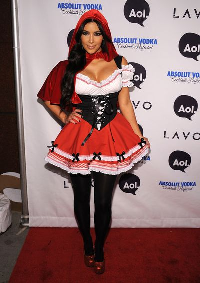 Kim Kardashian dressed as Little Red Riding Hood at Heidi Klum's 2010 Halloween Party at Lavo on October 31, 2010