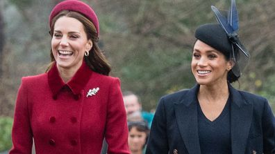 The Duchess of Cambridge and the Duchess of Sussex on a Christmas walkabout in 2018.