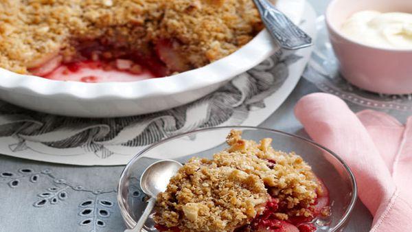 Pear and raspberry crumble