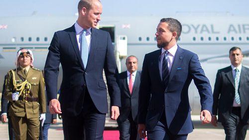 Prince William begins his tour after meeting Jordan's Crown Prince Al Hussein bin Abdullah II at the airport.