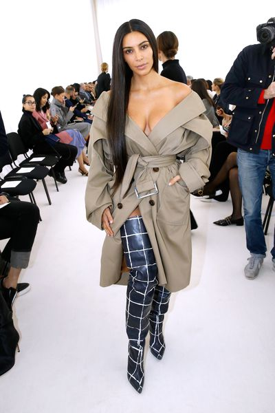 Kim Kardashian West in Balenciaga at Paris Fashion Week , 2016