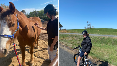 My son with the horse at Belisi farm stay, and riding the Tumbarumba bike trail.