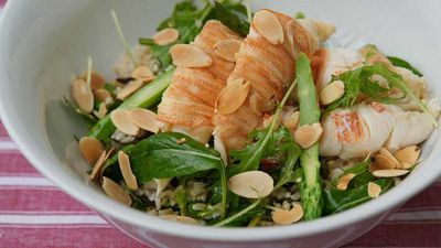 "<a href=""http://kitchen.nine.com.au/2016/12/13/11/42/salad-of-moreton-bay-bugs-and-brown-rice-with-sesame-dressing"" target=""_top"">Salad of Moreton Bay bugs and brown rice with sesame dressing</a><br> <br> <a href=""http://kitchen.nine.com.au/2016/12/13/15/58/choosing-the-best-seafood-for-christmas"" target=""_top"">RELATED: How to choose the best seafood for Christmas</a>"