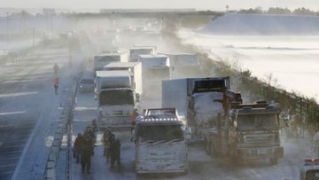 Japan Miyagi prefecture snow storm pile-up