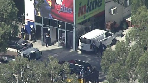 The shooting took place inside a signage factory. (9NEWS)