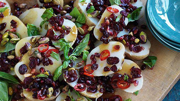Potato, cranberry and pistachio salad with pomegranate dressing
