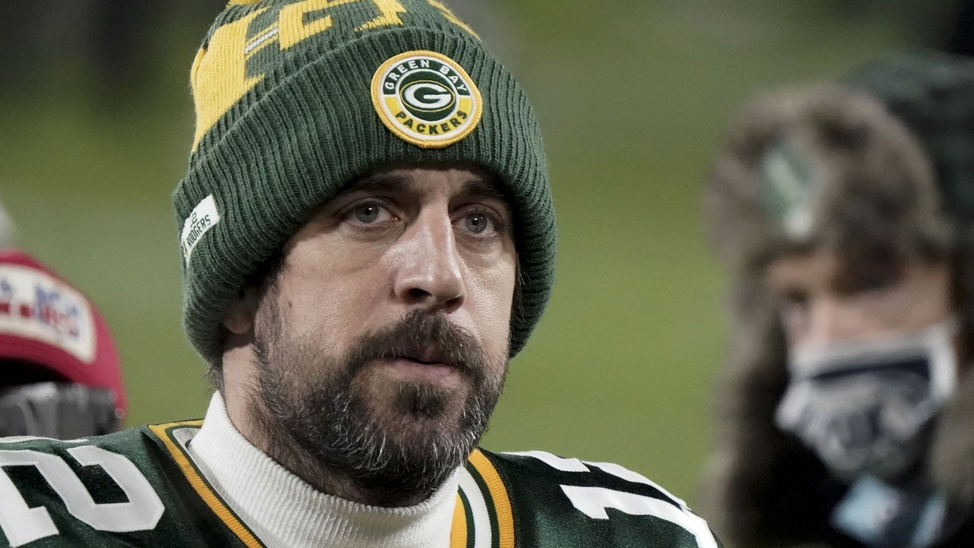 Green Bay Packers quarterback Aaron Rodgers (12) walks off the field after the NFC championship NFL football game against the Tampa Bay Buccaneers in Green Bay, Wis., Sunday, Jan. 24, 2021