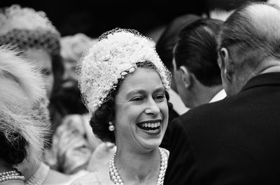 The Queen attends the wedding of Princess Alexandra of Kent and Angus Ogilvy at Westminster Abbey, April, 1963
