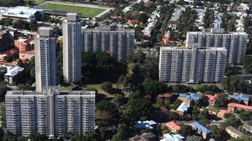 Aerial view of residential towers currently occupying the site where the NSW government plans to redevelop Waterloo, south of Sydney's CBD. (AAP)