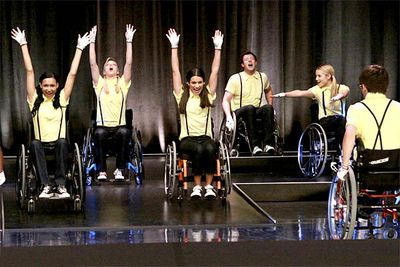 <B>From the episode...</B> 'Wheels'<br/><br/><br/><B>Why it's awesome:</B> The entire glee club? Performing a whole song in wheelchairs? To support their wheelchair-bound pal Artie? You might say that this routine is <i>wheely </i>good.