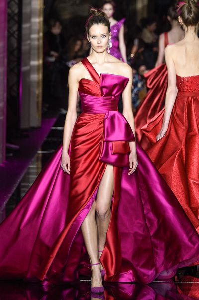 The incredible pairing of bold red and hot pink. Zuhair Murad Paris Haute Couture Spring Summer 2017.