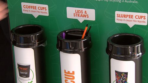 The bins have been installed at more than 200 7-Eleven stores across Australia. Picture: 9NEWS