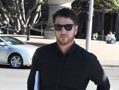 Axe attack victim, Ben Rimmer leaves the Supreme Court building in Sydney after Evie Amati's nine-year jail term increased to 14 years.
