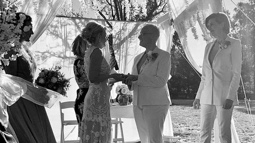 Lisa Crouch (right) and Kerri Lacey (left) on their wedding day.